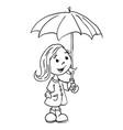 black ad white little girl with umbrella vector image