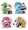 set of cute baby panda bears with numbers vector image
