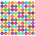 100 internet icons set color vector image vector image