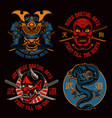 a set colorful samurai-themed badges vector image vector image