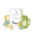 badge design with pastel lemons smothie jars vector image