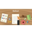 bailout concept with businessman working on paper vector image