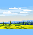 beautiful countryside summer landscape valley vector image vector image