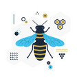 blue and golden top view flying honey bee icon vector image vector image