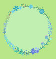 blue flower wreath circle frame vector image vector image