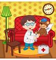 boy doctor treats teddy bear vector image vector image