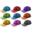 Caps in different colors vector image vector image