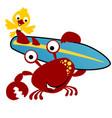 cartoon crabs carrying surfboard with a bird vector image vector image