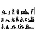 childbirth labor positions and postures at home vector image