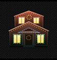 christmas house isolated on dark vector image