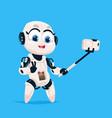 cute robot take selfie photo robotic girl isolated vector image