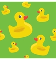 Cute seamless pattern with yellow rubber duck vector image