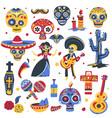 day dead traditional symbols mexican vector image vector image