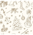 Doodle Christmas seamless pattern Vintage vector image vector image