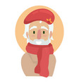 elderly artist in a red long scarf and beret vector image vector image