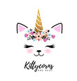 fantasy animal cat kittycorn vector image