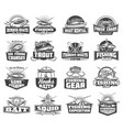 fishing club fisher lures and tackles icons vector image