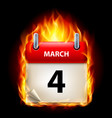 fourth march in calendar burning icon on black vector image vector image