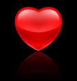Glossy red heart on black vector image
