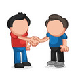 hand-drawn cartoon of two men standing shaking vector image