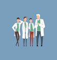 hospital medical staff doctors team flat men vector image