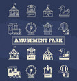 luna park thin line and silhoette icons set vector image