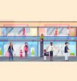 mix race visitors walking modern shopping mall vector image vector image