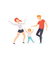 mom dad and son dancing boy having fun with his vector image