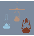 monochrome icon set with kerosene lamp vector image vector image