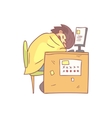 Office Worker Sleeping At Work Wrapped In Blanket vector image vector image