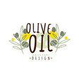 olive oil label with some olive branches vector image