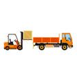 orange forklift loading truck flat vector image