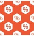 Orange hexagon percent pattern vector image vector image