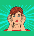 pop art woman listening vector image vector image