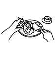 pov close-up hand of man putting food vector image