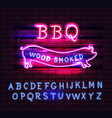 red and pink neon bbq pig sign on a brick vector image