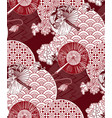 red fans flower japanese chinese design pattern vector image vector image