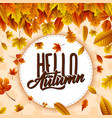 round label with falling leaves vector image vector image