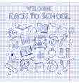 scrap set back to school on notebook sheet vector image vector image