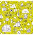 seamless pattern camping equipment symbols vector image