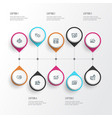 search icons line style set with time planning vector image