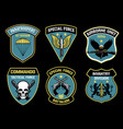 set bundle military unit badges vector image vector image