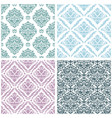 Set damask floral seamless pattern vintage
