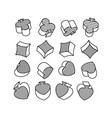 set of black and white symbols of playing cards in vector image