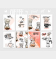 set of modern posters with coffee vector image vector image