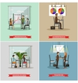set of office interior banners in flat vector image vector image