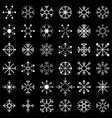 set of snow flakes black vector image