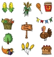 Set of thanksgiving doodle art vector image vector image