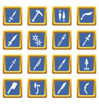 steel arms items icons set blue square vector image vector image