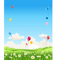 summer with grass and sky vector image vector image